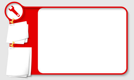 remark: Red abstract frame for your text with spanner and  papers for remark