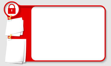 remark: Red abstract frame for your text with padlock and  papers for remark