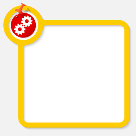 cogwheels: Yellow frame for your text and cogwheels