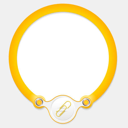 office product: Yellow circular frame for your text and paper clip