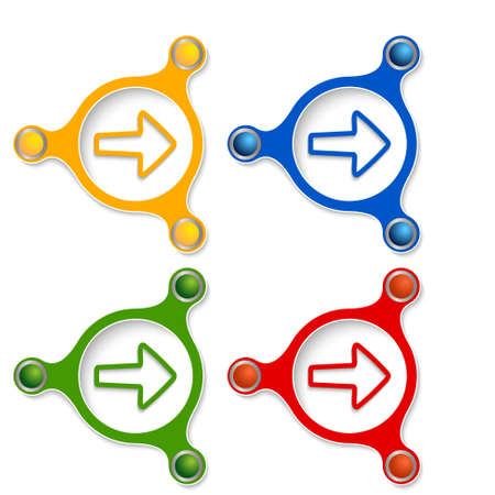 annular: four abstract vector objects and a colored simple arrow