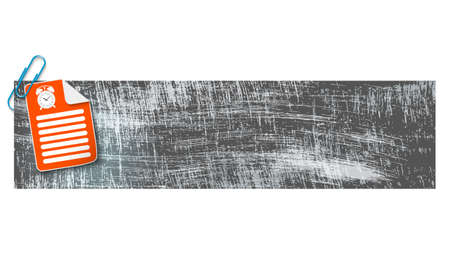 scratches: banner with scratches background and document and alarm clock Illustration