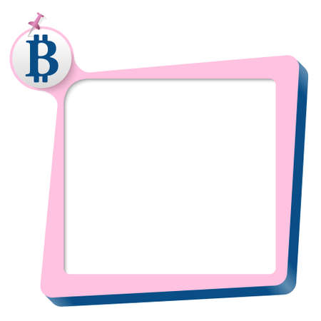 coin box: pink text box and blue bit coin symbol