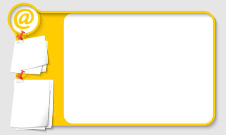remark: Yellow abstract frame for your text with email icon and  papers for remark Illustration
