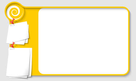 remark: Yellow abstract frame for your text with spiral and  papers for remark