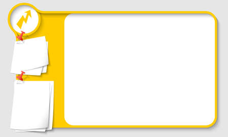 remark: Yellow abstract frame for your text with flash and  papers for remark