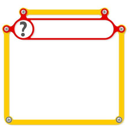 headline: Red frame for headline and question mark