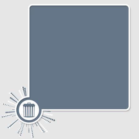 trashcan: vector colored text box and trashcan