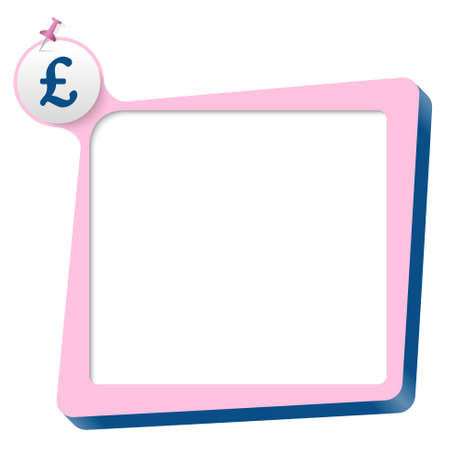 pink text box and blue pound sterling symbol Vector