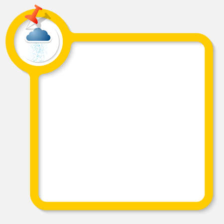 your text: Yellow frame for your text and cloud