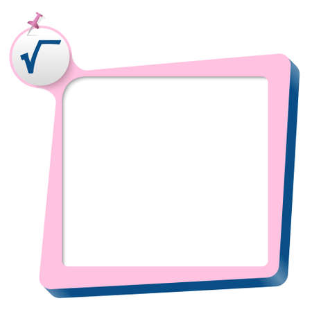square root: pink text box and blue square root icon
