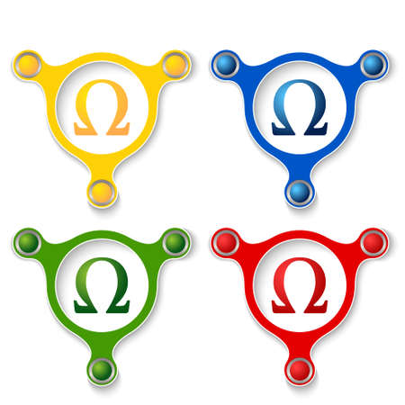 annular: four abstract vector objects and a colored omega icon