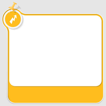 yellow pushpin: yellow text box with pushpin and flash icon Illustration