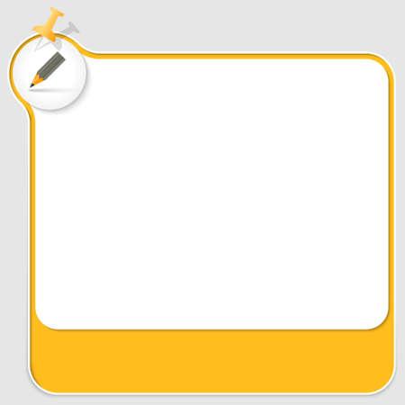 yellow pushpin: yellow text box with pushpin and pencil