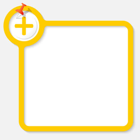 plus symbol: Yellow frame for your text and plus symbol Illustration