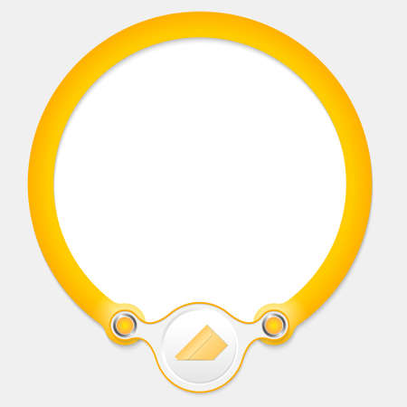 office products: Yellow circular frame for your text and envelope