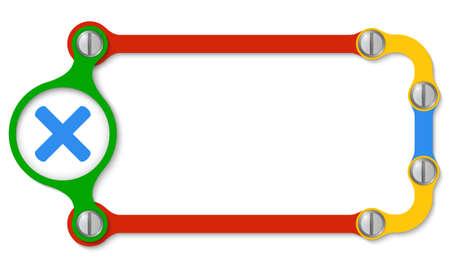 multiplicacion: Marco coloreado con tornillos y icono de la multiplicaci�n Vectores