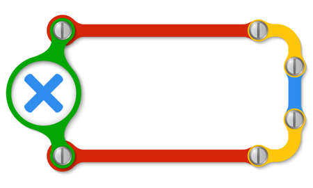 Colored frame with screws and multiplication icon