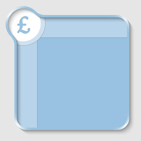 blue text box for entering text and pound sterling icon Vector
