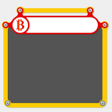 headline: Red frame for headline and bit coin icon