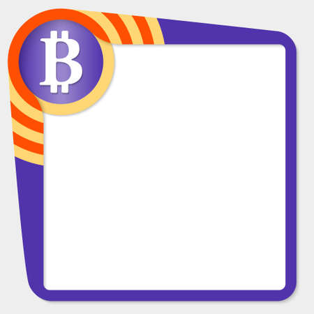 coin box: Dark purple box for your text and bit coin icon