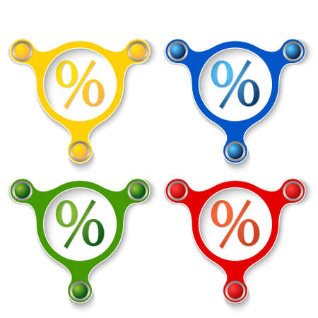 annular: four abstract vector objects and a colored percent symbol