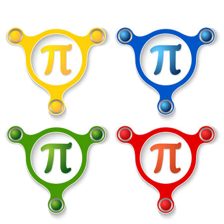 pi: four abstract vector objects and a colored pi symbol