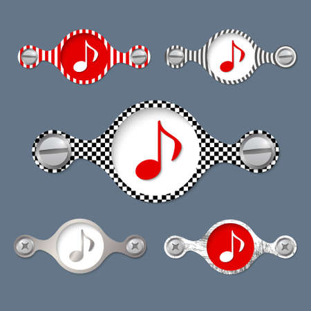annular: five abstract objects with pattern and music icon