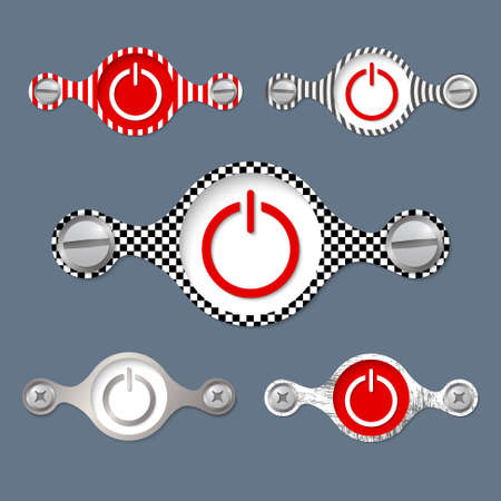 five abstract objects with pattern and power button Ilustração