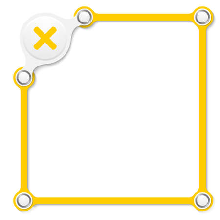 multiplication: Vector yellow box for your text and multiplication symbol Illustration