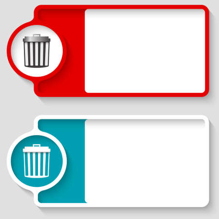 space rubbish: Colored boxes for your text and trashcan icon