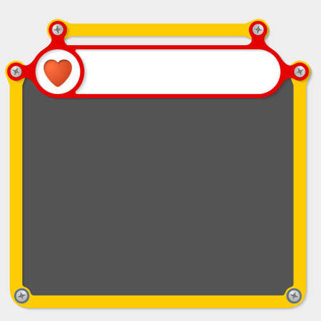 headline: Red frame for headline and heart icon