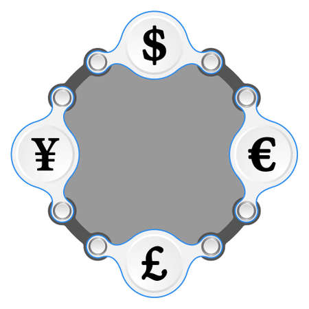 currency symbols: circular frame for your text and currency symbols