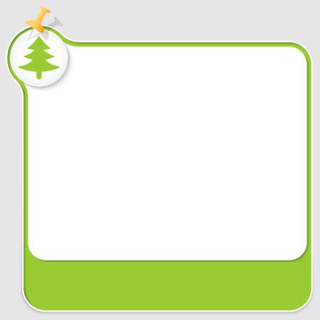 baum symbol: Gr�n Textfeld mit Druckbolzen und Baum-Symbol Illustration