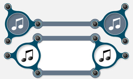 Two vector abstract text boxes for your text and music icon Vector