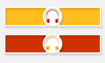 Abstract text frames for text and headphones Vector