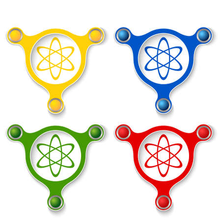 four objects: four abstract objects and colored science symbol