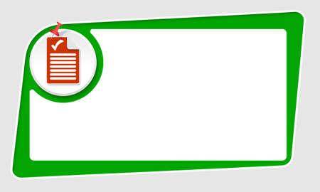 check box: vector abstract green box and pushpin and check box Illustration