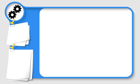 remark: Blue abstract frame for your text with cogwheels icon and  papers for remark