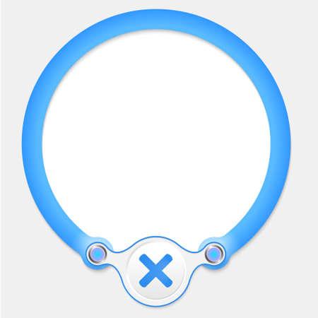 multiplicaci�n: Marco circular azul para el texto y la multiplicaci�n s�mbolo