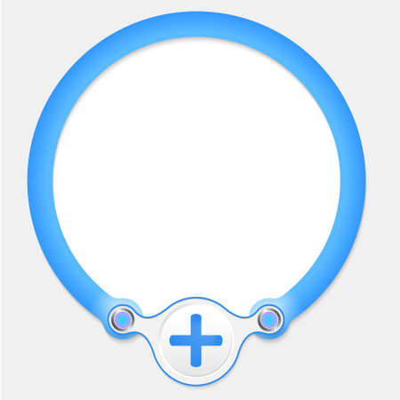 plus symbol: Blue circular frame for your text and plus symbol