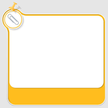 yellow pushpin: yellow text box with pushpin and paper clip Illustration