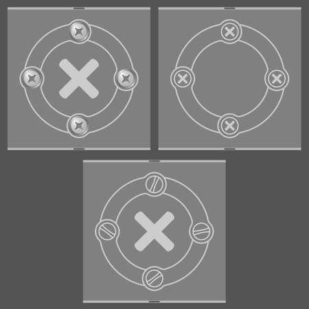 multiplicacion: Conjunto de tres cuadros planas y símbolo de multiplicación
