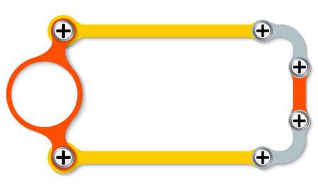 plus symbol: Colored frame with screws and plus symbol