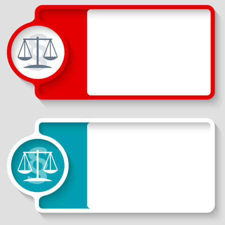 jury box: Colored boxes for your text and lawyer symbol