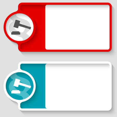 Colored boxes for your text and lawyer symbol