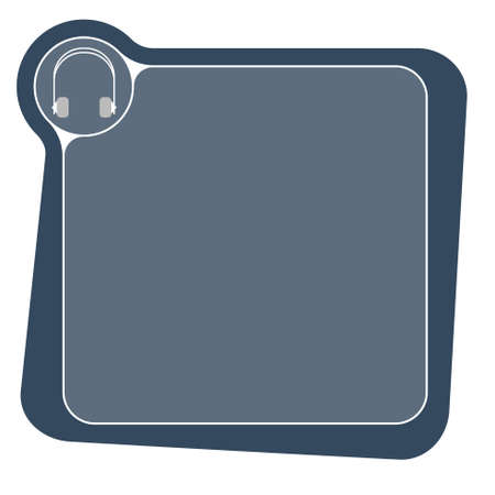 Flat frame for your text and headphones Vector