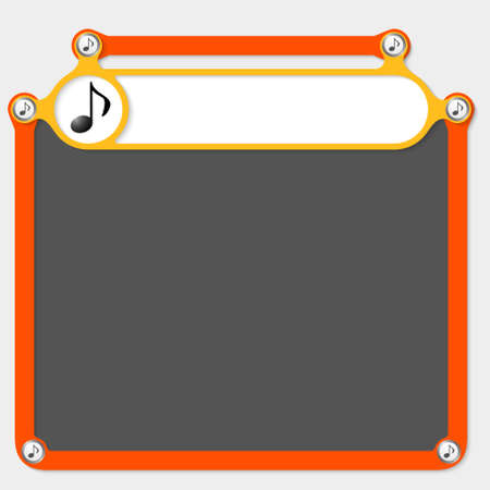 headline: Yellow frame for headline and music icon Illustration