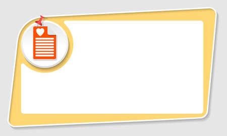 yellow pushpin: vector abstract yellow box and pushpin and heart symbol