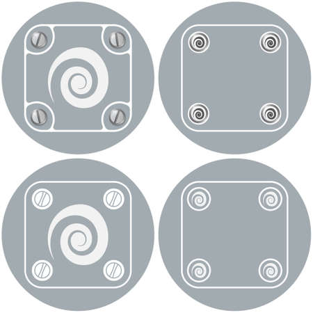 helix border: Set of four flat simple frames and spiral symbol